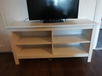 IKEA white wooden tv unit with shelves