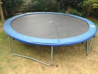Large 14 foot trampoline. Very good condition. Includes weather cover and instruction booklet