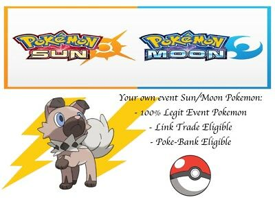 Pokemon Ultra Sun and Moon Event Rockruff with Own Tempo and Thunder Fang