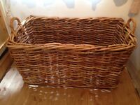 Vintage Woven Bamboo Laundry Basket