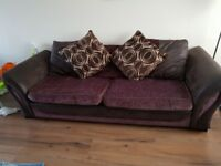 Dfs brown 4 seater sofa, large cuddle chair and ottoman footstool