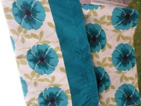 Teal floral lined curtains +tie backs tape top 88W+ 70D