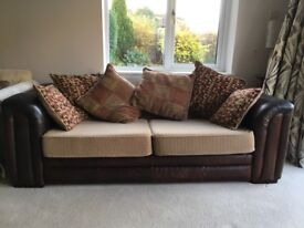 Leather and fabric 3 seater sofa and footstool