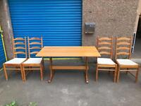 ERCOL PINE TABLE WITH 4 CHAIRS