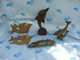 5 x Wooden/ wood effect Dolphin ornaments