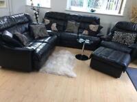 Black real leather 4 piece sofa set