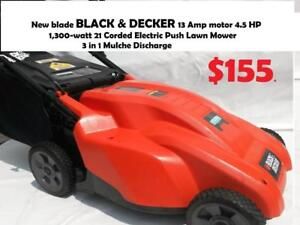 New blade BLACK & DECKER 13 Amp motor 4.5 HP  1,300-watt  21 Corded Electric Push Lawn Mower 3 in 1 Mulche Discharge