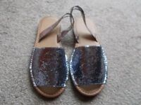 Brand new pewter glitter sandals size 4