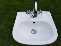 Cloakroom sink with mixer tap and waste