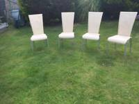 Set of 4 High back Dining Chairs(Cream Leather)