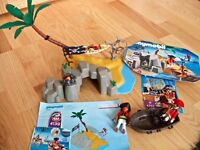 Playmobil Pirate Island boat Treasure chest cave palm tree mixed 3 figures Set 4139 & 4293