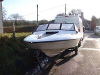 17 ft fletcher bravo speedboat with mercury 60 hp motor and trailer