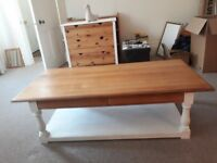 Restored antique solid wooden coffee table