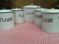 Vintage Enamel Bread Bin & Four Flour Containers