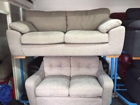 New/Ex Display Dfs Mink/Grey 3 Seater + 2 Seater Sofas