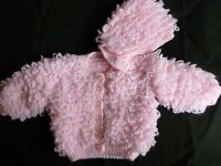 Hand knitted pink baby loopy jacket and matching hat 0 - 6 mths brand new