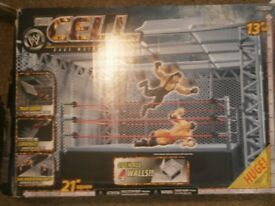 "WWE 2007 The Cell Cage Match Ring Boxed 13"" Tall"