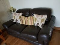 1 x 3 seater and 1 x 2 seater leather Sofas