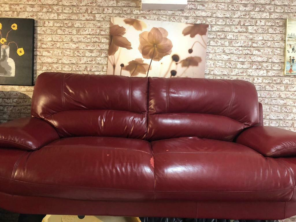 Red Leather Sofa Used Retro In Eccles Manchester Gumtree