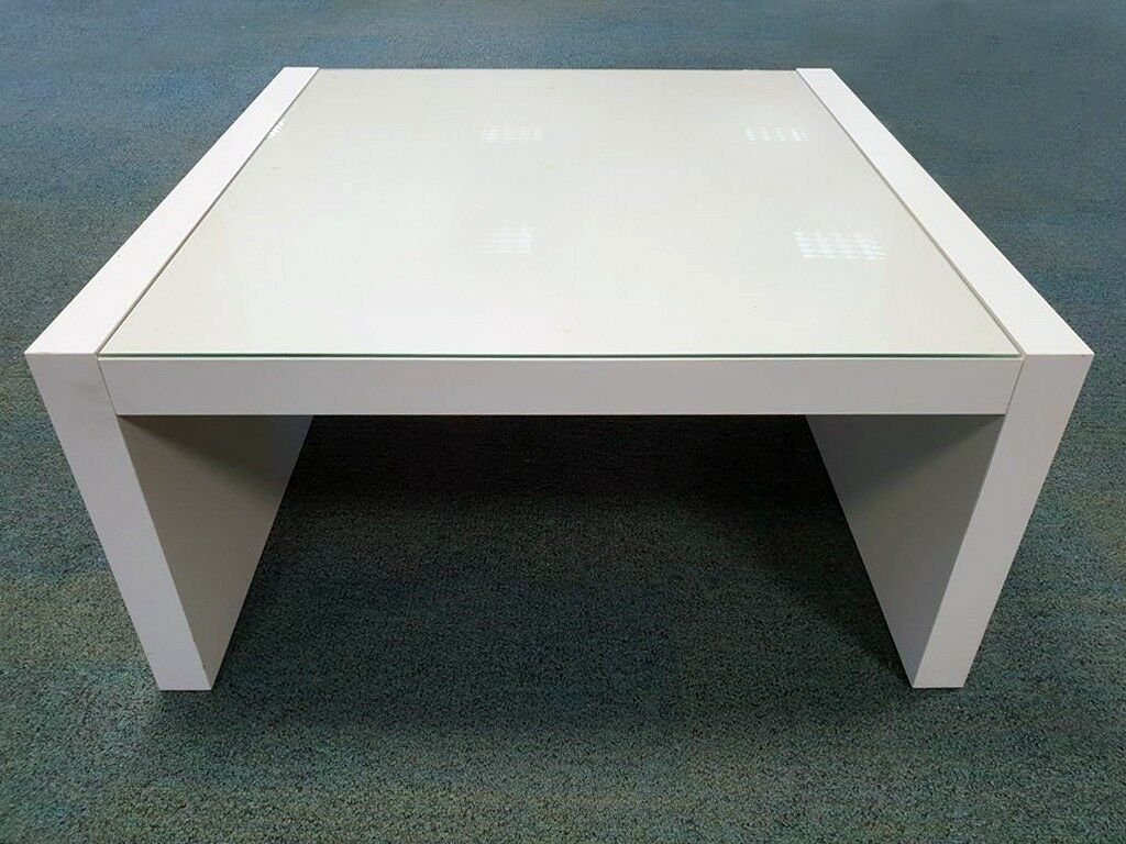 Fine Ikea White Low Square Coffee Table With Glass Top Good Condition Already Assembled In Bedford Bedfordshire Gumtree Download Free Architecture Designs Ferenbritishbridgeorg