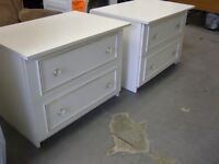Pair of Large White 2 Drawer Bedside Cabinets