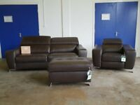 FABB SOFAS JAX BROWN LEATHER SUITE 3 SEATER SOFA, POWER RECLINER ARMCHAIR & STORAGE FOOTSTOOL