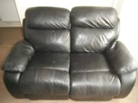 2 Seater Black Leather Manual Recliner Sofa