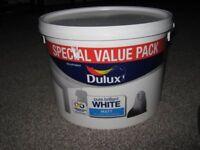 Dulux white matt emulsion paint large tub 7litres almost full.