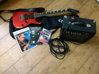 G10 Ibanez lead guitar with amp, music and bag.