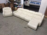 DFS ZARA CORNER MODULAR LEATHER SOFA PLUS ARMCHAIR WHITE CREAM DELIVERY ALL UK VERY GOOD CONDITION