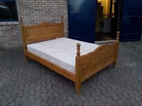 solid pine double bed frame and good quality clean mattress