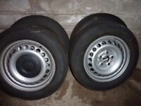 4 X VW TRANSPORTER STEEL WHEELS AND TYRES 205/65/16 from T5 VAN