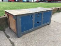 Vintage Wooden Workbench Storage Island Unit