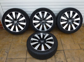 Four Genuine Honda Civic Sport Alloy Wheels Fitted With 17 - 225/45 R17 91W Michelin Primacy Tyres