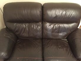2 seater leather recliner sofa (dfs)