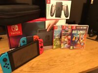Nintendo Switch Neon - Like new - 32GB SD Card, 3 games (Zelda, Mario Kart and Just Dance
