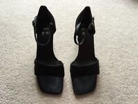 Ladies M&S black beaded design heel sandals size 5.5 wider fit Brand New