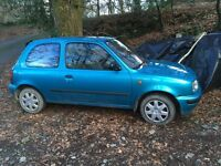 Nissan Micra 1ooocc auto for spares or repair. F.S.H. 78k miles.Good runner until bump in rear.