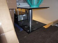 """TV STAND / UNIT BLACK GLASS & BRUSHED STEEL WITH CENTRE SHELF LARGE TAKES UP TO 65"""" TV"""