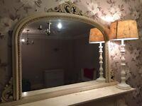 Large mantel mirror cream beautiful