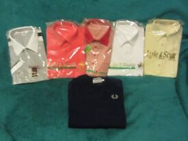 Brand New 5 polo / golf shirts and 1 Brand New Fred Perry Navy Sweater