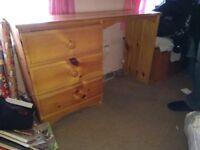 Pine 3 drawer desk