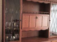 Oak glass fronted dresser/sideboard