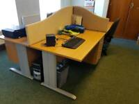 4 office desks with integrated partition and lockable drawers