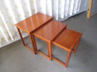 VINTAGE TEAK DANISH SET OF NESTING TABLES NEST OF THREE TABLES MADE IN DENMARK