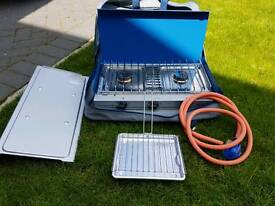 Campingaz double gas stove with grill