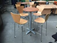 2 X POSEUR TABLES & 8 X BENT WOOD BAR STOOLS, OFFICE, CANTEEN, PATIO, PUB CAFE