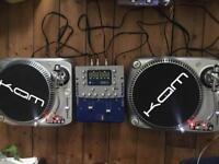DJ vinyl decks Kam DDX3000 and Numark DXM03 mixer