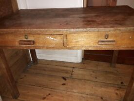 Vintage solid wood desk with two drawers. Great renovation project