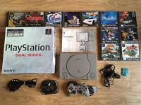 PlayStation PS1 boxed console & 11 games bundle